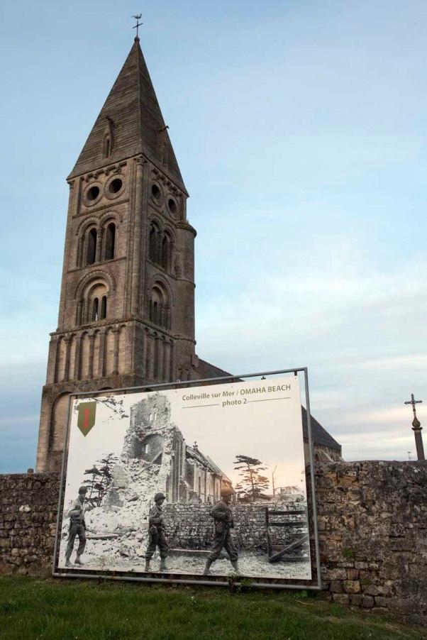 die Kirche von Colleville-sur-Mer 2014 und 1944 © Michael Kneffel